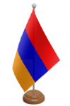 Armenia Desk / Table Flag with wooden stand and base